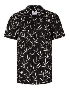 Black Leaf Print Short Sleeve Casual Shirt - TOPMAN