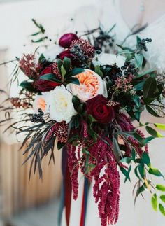 Hosting a winter wedding? You'll need some winter wedding flowers! Here are 23 winter wedding bouquets and tips on how to make your own. Cascading Wedding Bouquets, Winter Wedding Flowers, Wedding Flower Arrangements, Bride Bouquets, Flower Bouquet Wedding, Floral Wedding, Flower Bouquets, Burgundy Wedding Flowers, Autumn Wedding Bouquet