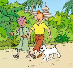 1977 – Tintin, ami des enfants, avec le jeune Prince de Rawhajpoutalah • Tintin, friend of the children with Prince of Rawhajpoutalah Illustration réalisée pour un autocollant promotionnel du « Fromage Tintin ». #tintin #herge