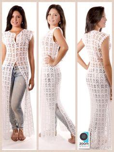 Camisão branco longo em crochet , ou saída de praia , tamanho M, todo confeccionado com linha 100% algodão . <br>Temos outros tamanhos e cores ! Crochet Vest Pattern, Crochet Jacket, Crochet Cardigan, Crochet Girls, Crochet Woman, Crochet Clothes, Diy Clothes, Clothes For Women, Crochet Ripple