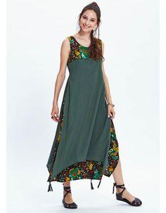 Otantik Yazlık bohem Elbise - Maya Yeşil