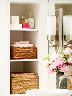 Make a Small Bath Look Larger - Carve out additional storage by building a recessed shelf between the studs in a wall. Recessed shelves put unused space to work and don't take up floor real estate, which is a plus in a small bath. Recessed Shelves, Deep Shelves, Open Shelving, Wall Shelves, Narrow Shelves, Timeless Bathroom, Beautiful Bathrooms, Bathroom Modern, Bathroom Interior