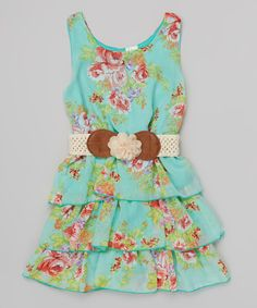 Look what I found on #zulily! Mint & Red Floral Belted Tiered Dress by Just Kids #zulilyfinds