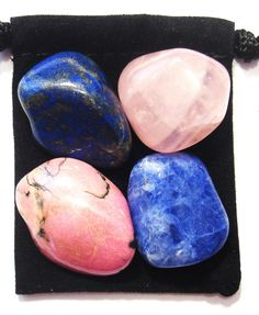 RELATIONSHIP RESCUE Tumbled Crystal Healing Set - 4 Gemstones w/Description & Pouch - Lapis Lazuli, Rhondonite, Rose Quartz, and Sodalite