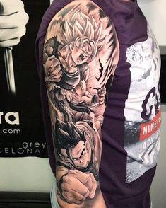 46 New Ideas Tattoo Dragon Ball Fechamento Dope Tattoos, Body Art Tattoos, Hand Tattoos, Tattoos For Guys, Jäger Tattoo, Manga Tattoo, Best Sleeve Tattoos, Tattoo Sleeve Designs, Hunter Tattoo