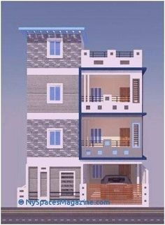 3 Storey House Design, Duplex House Design, House Front Design, Small House Design, Modern House Design, Apartment Design, 2bhk House Plan, Dream House Plans, Modern House Plans