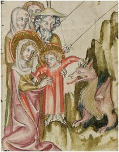 Scene (apocryphal) during the Flight into Egypt. This ms has a nice series of illustrations of the infancy narratives. Schaffhausen, Stadtbibliothek, Gen. 8 http://www.e-codices.unifr.ch/en/sbs/0008/20r/medium