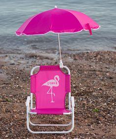 Look what I found on #zulily! Hot Pink Flamingo Personalized Kid's Beach Chair & Umbrella #zulilyfinds