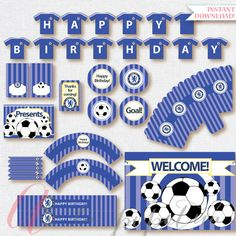 Soccer Party Package. Instant download. Printable. Matching Custom invitation available. Chelsea FC inspired printables.