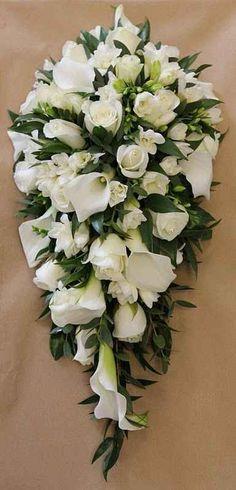 The Chic Technique: Teardrop bouquet, but with orchids, roses, hydrangea & ivy Bouquet En Cascade, Hydrangea Bouquet Wedding, Cascading Wedding Bouquets, Bride Bouquets, Bridal Flowers, Rose Bouquet, Floral Bouquets, Lisianthus Bouquet, Carnation Wedding