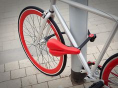 The Seatylock. When you take the seat off its post, the lock comes out & secures your bike frame & seat to any pole or fixed object. Awesome idea!