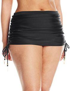 Jessica Simpson Womens PlusSize Solid Adjustable Skirt Bikini Bottom Black  1X  gt  gt  gt 3793ecde46b69