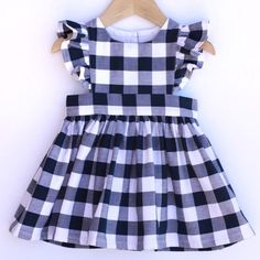 Gingham Pinafore Dress - Pinafore Dress Baby - Pinafore Dress Toddler - Gingham Girls Dress - Navy B Girls Frock Design, Baby Dress Design, Baby Girl Dress Patterns, Little Girl Dresses, Frocks For Girls, Skirt Patterns, Coat Patterns, Dress Girl, Blouse Patterns