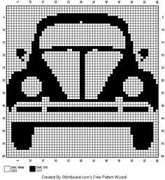 Blackwork Embroidery, Diy Embroidery, Cross Stitch Embroidery, C2c Crochet, Filet Crochet, Modern Cross Stitch Patterns, Cross Stitch Designs, Pixel Pattern, Volkswagen Bus