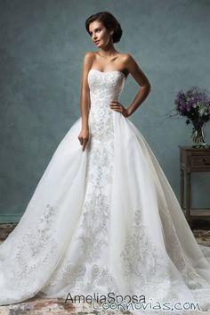 vestido de novia con doble falda