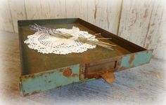 Vintage Green Industrial File Cabinet Drawer / by AntiqueShopGirl, $40.00