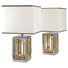 A Pair of Silvered and Brass Lamps by Romeo Rega | From a unique collection of antique and modern table lamps at https://www.1stdibs.com/furniture/lighting/table-lamps/