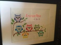 Cross stitch owls for my good friends arrival of her beautiful baby girl Hoot Hoot!!