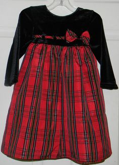 9a7fa065a98 Sophie Rose Girls Size 2T Black Velour Plaid Christmas Dress  SophieRose   DressyHoliday Rose Girl