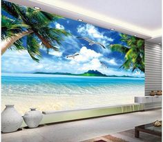 Custom wall mural landscape, Hawaii beach murals for the living room bedroom TV background wall waterproof vinyl papel de parede Strand Wallpaper, Beach Wallpaper, Photo Wallpaper, Wall Wallpaper, Beach Wall Murals, Custom Wall Murals, Beach Art, Ocean Beach, Hawaii Beach