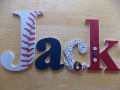 Personalized Wooden Letters-Baseball Set by CountingOurBlessings on Etsy