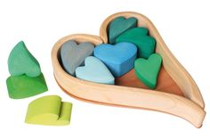 Stacking wooden heart blocks toy