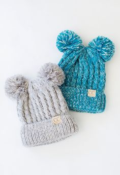 These darling kids double pom beanies are too cute! 100% Acrylic