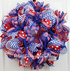 Deco Mesh Patriotic Wreath, Patriotic Wreath, Deco Mesh Wreath, 4th of July Wreath, Memorial Day Wreath, Front Door Wreath by WruffleWreathsbyLana on Etsy