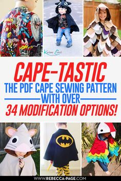 PDF sewing pattern for Cape-tastic ... great for Halloween, Xmas gifts, birthdays or any other dress up / costume occasion!