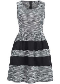 Hailys Damen Kleid AM-0315246 Passe gestreift Zipper hinten Gummizug schwarz weiss - 77onlineshop