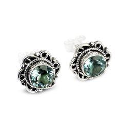 925 Sterling Silver Earrings - Handmade Blue Topaz Post Earrings