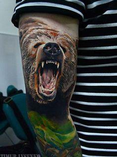 bear tattoo by Timur Lysenko from Wroclaw, Poland Bull Tattoos, Badass Tattoos, Animal Tattoos, Body Art Tattoos, Sleeve Tattoos, Awesome Tattoos, Tatoos, Trible Tattoos, Wildlife Tattoo