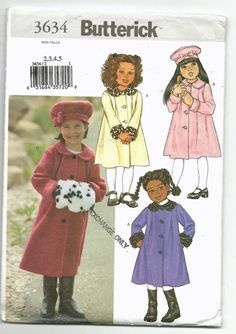 New B3634 Butterick 3634 Children's Coat, Hat, and Muff Sewing Pattern - (2-3-4-5) - 5