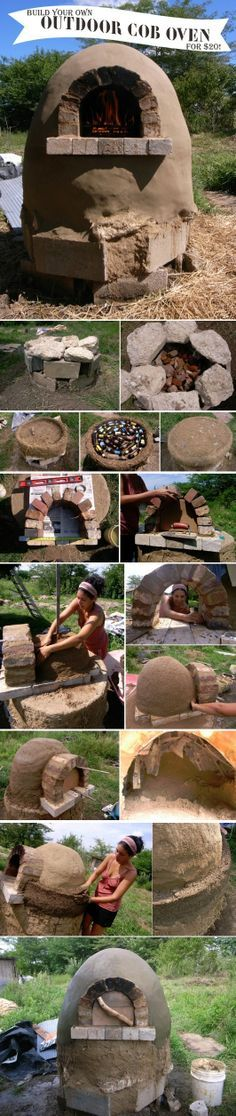 How To Build An Outdoor Cob Oven For $20 use hypertufa! There is a product for heat in the oven part! #livingecology #permacultureinternship Outdoor Oven, Outdoor Cooking, Outdoor Fire, Outdoor Entertaining, Outdoor Projects, Garden Projects, Backyard Projects, Natural Building, Earthship