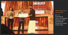 Mr P.K.Shashidharan - Senior VP, Marketing, CERA presenting the Popular Actor Award to Nivin Pauly, at the CERA Vanitha Film Awards 2016.