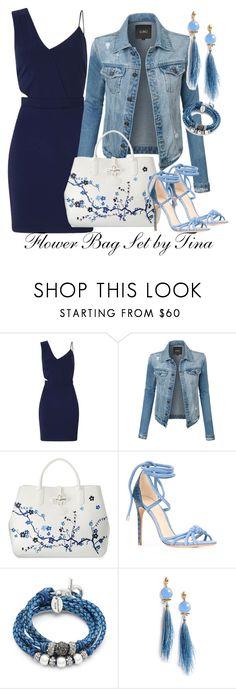 """Flower Bag Set"" by tina-kene ❤ liked on Polyvore featuring Miss Selfridge, LE3NO, Longchamp, Alexandre Birman, Lizzy James, Gas Bijoux, contest, bluedress, denimjacket and FlowerBag"