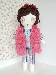 Fabric art doll, cloth handmade dolls, ooak doll, collectible dolls, flower power