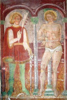 Famiglia Baschenis - Santi Sebastiano e Giuliano - affreschi - Chiesa di Santo Stefano, Carisolo (Trento, Italia)