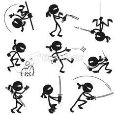 Stickfigure Ninjas Royalty Free Stock Vector Art Illustration