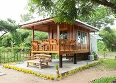 Home Terrace Garden Inspirations, You Must Like It! Bamboo House Bali, Bamboo House Design, Wooden House Design, Tropical House Design, Small Wooden House, Simple House Design, Modern Tiny House, Tiny House Cabin, Tiny House Design