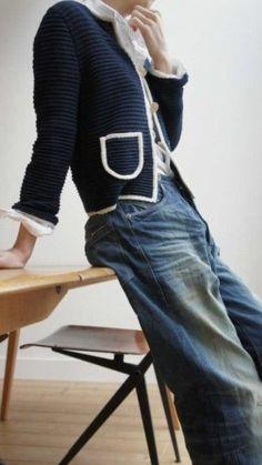 Denim Fashion, Look Fashion, Womens Fashion, Fashion Design, Fashion Trends, Look Jean, Mode Jeans, Vintage Mode, Chanel Jacket
