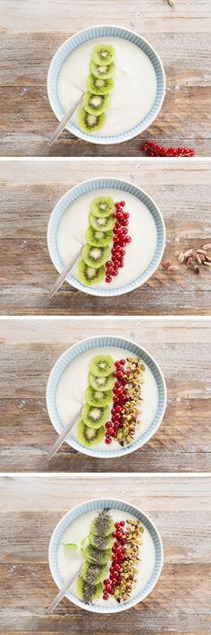 Morning rush sounds familiar? It takes just 4 steps to make your healthy breakfast!The good thing is you don't even have to wait for summer to make this easy breakfast recipe.   Ingredients: Alpro Plain with Coconut – pineapple – chia seeds – agave syrup – kiwi – red currants – pistachios – mint. Meal of the day: breakfast – snack. Suited for: lactose-free – gluten-free – vegetarian – vegan.