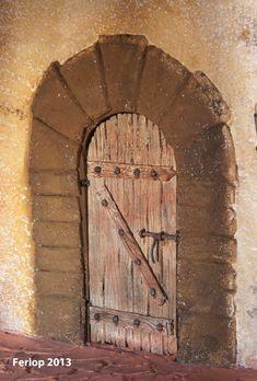 Portal de belén para figuras de 12 cm. medidas 70 X 60 X 60      Vista lateral      Detalle del farol de barro con luz.      Detalle de la...