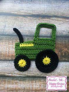 Crochet Blankets For Men Crochet john deere tractior applique Crochet Car, Gilet Crochet, Crochet For Boys, Cute Crochet, Crochet Crafts, Yarn Crafts, Easy Crochet, Crochet Toys, Crochet Squares