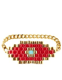Red & Gold Evil Eye Ring I can totally make this myself!!