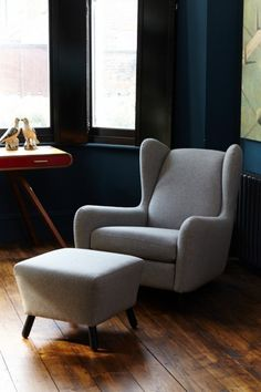 The Rubens Armchair and Footstool are a sleek and stylish addition to your living room. MADE. Wingback Armchair, Single Sofa, Fashion Room, Mid Century Furniture, Home And Living, Living Room, Ideal Home, Home Accessories, Home Furniture