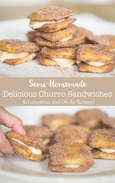 This is an easy semi-homemade delicious churro sandwich with caramel and cream cheese filling that takes less than 20 minutes to make! Absolutely scrumptious churro that anyone will love! #LeggoMyEggo #HearTheNews #ad https://www.pinterest.com/eggorecipes
