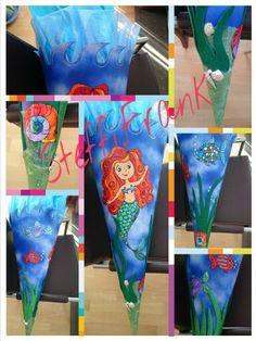 Schultüte für meine Tochter mit Regenbogenfisch, Meerjungfrau, Fische, Muscheln und Seegras!