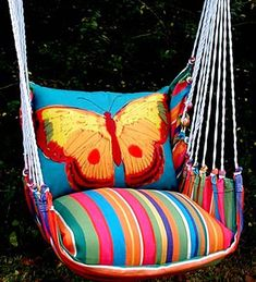 Chair Swings - Wind and Weather .... $ 159.95 I MUST HAVE THIS. Especially, the butterfly pillow.