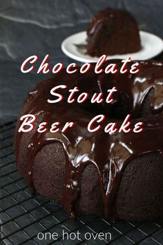 Bake this easy Chocolate Stout Beer Cake Recipe.  Chocolate and stout beer pair so well together in this homemade bundt cake that has a wonderfully deep chocolate and malty flavor.  Add a simple chocolate ganache on top to add  a sweet velvety glaze. #StoutBeerCake #ChocolateBundtCake #Cake #OneHotOven Chocolate Desert Recipes, Chocolate Stout Cake, Best Chocolate Desserts, Vegetarian Chocolate, Fun Desserts, Delicious Desserts, Chocolate Lovers, Chocolate Chocolate, Delicious Dishes